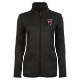 Black Heather Ladies Fleece Jacket-Mascot Embroidery
