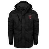 Black Brushstroke Print Insulated Jacket-Athletics Masot Vertical Embroidery