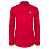 Ladies Red Twill Button Down Long Sleeve-Mascot Embroidery