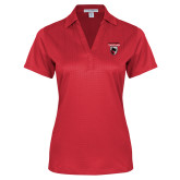 Ladies Red Performance Fine Jacquard Polo-Mascot Embroidery