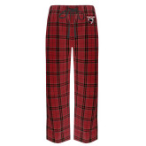 Red/Black Flannel Pajama Pant-Mascot Embroidery
