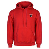Red Fleece Hoodie-Mascot Embroidery