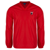 V Neck Red Raglan Windshirt-Mascot Embroidery