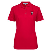 Ladies Easycare Red Pique Polo-Mascot Embroidery