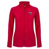 Ladies Fleece Full Zip Red Jacket-Mascot Embroidery