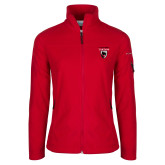 Columbia Ladies Full Zip Red Fleece Jacket-Mascot Embroidery