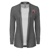 Ladies Heather Grey Open Front Cardigan-Mascot Embroidery