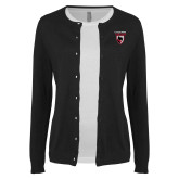 Ladies Black Cardigan-Mascot Embroidery