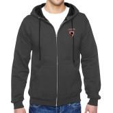 Charcoal Fleece Full Zip Hoodie-Mascot Embroidery