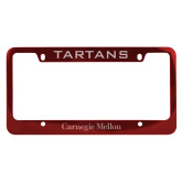 Metal Red License Plate Frame-Additional Flat Wordmark Engraved