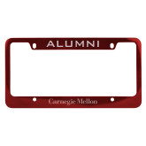 Alumni Metal Red License Plate Frame-Additional Flat Wordmark Engraved