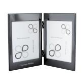 Black Nickel Double Photo Frame-Additional Flat Wordmark Engraved