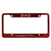 Dad Metal Red License Plate Frame-Additional Flat Wordmark Engraved
