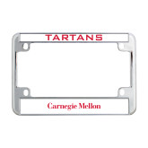 Metal Motorcycle License Plate Frame in Chrome-Additional Flat Wordmark