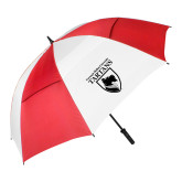 62 Inch Red/White Vented Umbrella-Mascot One Color