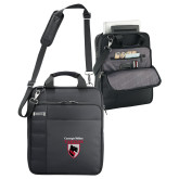 Kenneth Cole Black Vertical Checkpoint Friendly Messenger-Mascot Embroidery
