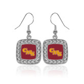 Crystal Studded Square Pendant Silver Dangle Earrings-CMS Stacked