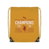 Gold Drawstring Backpack-2018 SCIAC Mens Soccer Champions