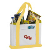 Contender White/Gold Canvas Tote-CMS Stacked