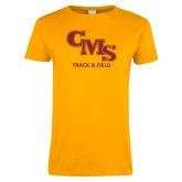 Ladies Gold T Shirt-CMS Track and Field