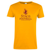 Ladies Gold T Shirt-Stags Football
