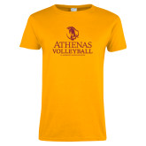 Ladies Gold T Shirt-Athenas Volleyball