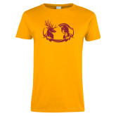 Ladies Gold T Shirt-Stag and Athena Logo