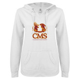 ENZA Ladies White V Notch Raw Edge Fleece Hoodie-CMS Mascots