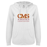 ENZA Ladies White V Notch Raw Edge Fleece Hoodie-CMS Logo