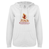 ENZA Ladies White V Notch Raw Edge Fleece Hoodie-Stags Baseball