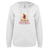 ENZA Ladies White V Notch Raw Edge Fleece Hoodie-Stags Football