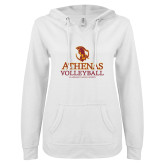 ENZA Ladies White V Notch Raw Edge Fleece Hoodie-Athenas Volleyball