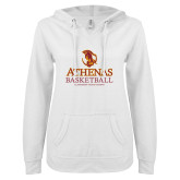 ENZA Ladies White V Notch Raw Edge Fleece Hoodie-Athenas Basketball