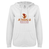 ENZA Ladies White V Notch Raw Edge Fleece Hoodie-Athenas Soccer
