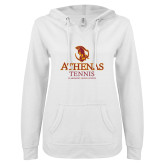 ENZA Ladies White V Notch Raw Edge Fleece Hoodie-Athenas Tennis