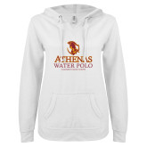 ENZA Ladies White V Notch Raw Edge Fleece Hoodie-Athenas Water Polo