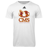 Adidas Climalite White Ultimate Performance Tee-CMS Mascots