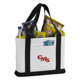 Contender White/Black Canvas Tote-CMS Stacked