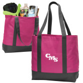Tropical Pink/Dark Charcoal Day Tote-CMS Stacked