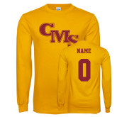 Gold Long Sleeve T Shirt-CMS Stacked, Custom tee w/ name and #