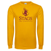 Gold Long Sleeve T Shirt-CMS Stags