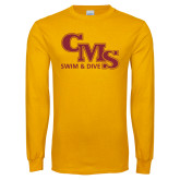 Gold Long Sleeve T Shirt-CMS Swim and Dive