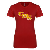 Next Level Ladies SoftStyle Junior Fitted Cardinal Tee-CMS Stacked