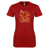 Next Level Ladies SoftStyle Junior Fitted Cardinal Tee-CMS Mascots