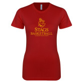Next Level Ladies SoftStyle Junior Fitted Cardinal Tee-Mens Basketball