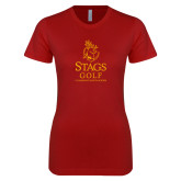 Next Level Ladies SoftStyle Junior Fitted Cardinal Tee-Mens Golf