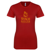 Next Level Ladies SoftStyle Junior Fitted Cardinal Tee-Mens Soccer