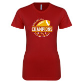 Next Level Ladies SoftStyle Junior Fitted Cardinal Tee-2018 SCIAC Football Champions