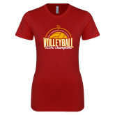 Next Level Ladies SoftStyle Junior Fitted Cardinal Tee-2018 SCIAC Volleyball Champions