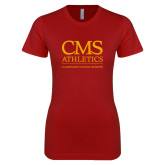 Next Level Ladies SoftStyle Junior Fitted Cardinal Tee-CMS Logo